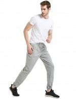 Modern Fit Light Gray Cotton Convergent Pants For Men Elastic Drawstring