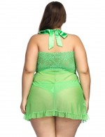 Green Halter Neck Babydoll Sets With Bow Ultra Kingly Making