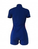Dreamy Short Sleeve Blue Large Size Stitching Shorts Jumpsuits For Romans