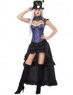 Body Sculpting Blue 16 Plastic Bones Corset Skirts Set Flower Superfit
