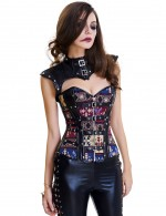 14 Plastic Boned Overbust Corset Buckle Hourglass Silhouette