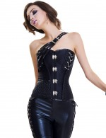 Comfortably Black One-Strap Plastic Bones Overbust Corset Functional