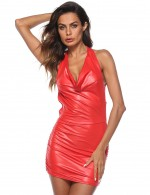 Comfortable Red Mini Leather Big Lingerie Dress Open Back Allover Slim Fit