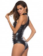 Pleasurable Black Hollow Leather Teddy Lingerie Queen Size Cool Fashion