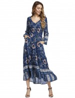 Blue Lantern Sleeve Floral Maxi Dress Decor Buttons Fast Shipping