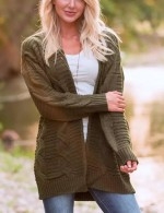 Homelike Army Green Long Sleeves Sweater Cardigan Plus Size Online