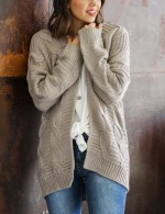 Leisure Grey Queen Size Plain Cardigans Sweater Distinctive Look