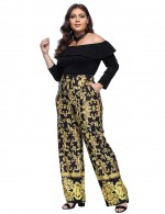 Gold Off Shoulder Baroque Fashion Ruffle Long Sleeves Women Jumpsuit
