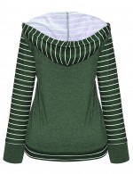 Affordable Striped Green Patchwork Hooded Tops Plain Loose