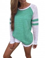 Dainty Green Scoop Stitching Tee Large Size Feminine Grace