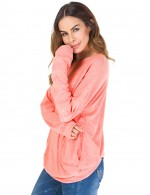 Romans Pink Pure Color Round Neck Sweatshirt Home Clothes