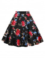 Gorgeous Floral Printing Midi Skater Skirts Big Size Dress For Women