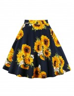 Plus Size Dreamy Sunflower Daisy Skater Skirt Fashion Essential