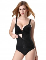 Women Black Big Size Waist Shapewear Hook Eye Breathable