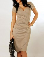 Fitted Brown Short Sleeve Pure Color Bodycon Dress Comfort Fashion