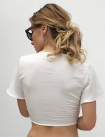 Gorgeous White Short Sleeves Chiffon Blouse Bowknot Loose Fit