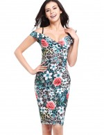 Eye Catch Floral Bodycon Wrapped Dresses Off Shoulder Feminine Fashion Trend
