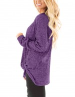 Entrancing Purple Twist Hem Tops Long Sleeves Round Neck