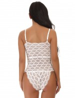 Convertible White Criss Cross Lace Up Scalloped Teddies Lingerie Female