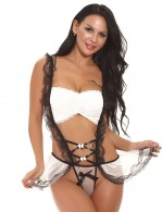 Collection White Backless Maid Bow Teddy Lingerie Lace Trim Slim Style
