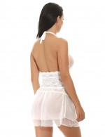 Valentine White Layered Mesh 2 Pieces Babydoll Halter Tie Super Faddish