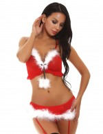 Simplicity Red Garter Cami Christmas Bralette Set Faux Fur Balls Fashion
