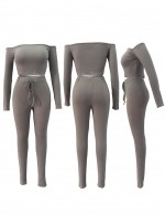 Affordable Grey Long Sleeve Cropped Ribbed Tops Set Fashion Online