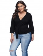 Modest Black V Neck Plus Size Tops Bell Sleeves Women's Fashion Tops