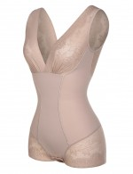 Exquisitely Nude Support Bust V Neck Bodysuits Lace Patchwork Hourglass