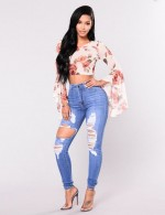 Sassy Ripped Skinny Pencil Jeans Full Length Online Fashion