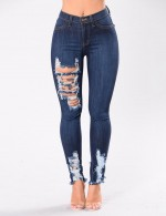 Sultry Dark Blue Big Size Ripped Pockets Denim Pants High Grade