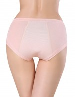 Lightweight Light Pink Stretch Side Leakage Prevention Mid Waist Panties