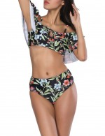 Uniquely Black Off Shoulder Swimwear Mid Waist Fashion Flower Pattern