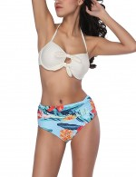 White Sunkissed Ruched Cup Bikini Set Halter Self Tie Bowknot