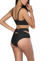 Sunny Black Mid Waist Wireless Front Tie Beachwear Women
