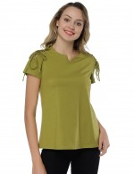 Grass Green V Neckline Lace Up Short Sleeved Shirt For Street Snap