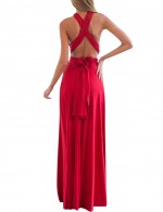 Stunning Red Evening Dresses For Weddings Backless Swing Hem