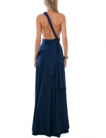 Brilliant Navy Blue Party Wear Evening Gowns Long Wide Straps