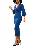 Captivating Sapphire Blue Midi Tight Dress Back Zipper