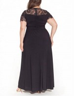 Evening Plus Size Formal Gowns High Waist Plunge Neck Lace