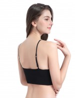 Fashionable Black Wireless Bra Sets Removable Pads Classic Fit