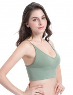 Luxurious Green Spaghetti Straps Bra Sets Thin Cup Seamless