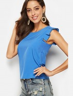 Glossy Dark Blue Round Neck Blouse Pleated Pure Color Versatile Item