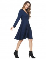 Laid-Back Navy Blue Long Sleeved Flared Dress With Button Distinctive Look