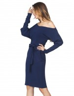 Eye-Appealing Navy Blue Tie Slanted Shoulder Dress Long Sleeves Feminine Grace
