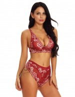 Hot Trendy Red Lace Bralette Set Mesh Scalloped Hem High Quality