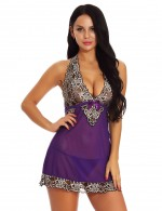 Trendy Purple Butterfly Knot Halter Babydoll Backless Stunning Style