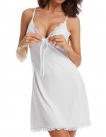 Magical White Cut Out Chemises Scallop Thin Straps Large Size Slimming Style
