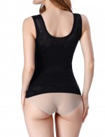 Natural Shaping Black U-Shape Support Shaping Tank Top Seamless Plain Instantly Slims