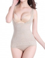 Comfortable Nude Large Size Plain Lace Hem Vest Shaper Flower Fashion Comfort